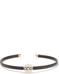 Kenneth Jay Lane Gold And Silver Tone Leather Choker