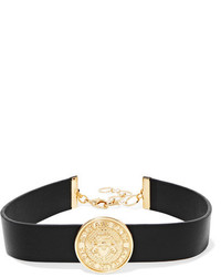 Balmain Gold Tone And Leather Choker Black