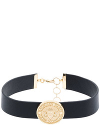 Balmain Gold Tone And Leather Choker