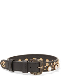 Gucci Faux Pearl Leather And Gold Tone Choker Black