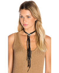 Ettika Leather Fringe Choker In Black
