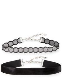 Two piece leather velvet choker necklace set medium 3638127