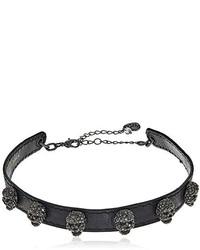 Betsey Johnson Pave Skull Black Leather Choker Necklace