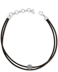 Lucky Brand Silver Tone Black Leather Crystal Choker Necklace