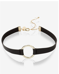 Express Hammered Circle And Leather Choker Necklace