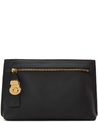 Burberry Black Leather Lock Pouch