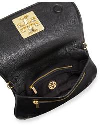 c4c0382d3ed7 ... Tory Burch Britten Leather Flap Clutch Bag Black