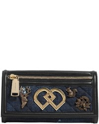Dsquared2 Dd Denim Leather Clutch W Charms