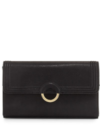 Neiman Marcus Faux Leather Ring Clutch Bag Black