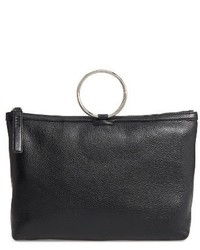 Large pebbled leather ring clutch black medium 3760903