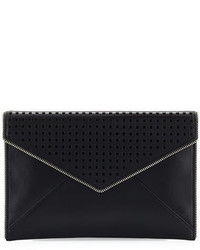 Rebecca Minkoff Leo Perforated Envelope Clutch Bag Black