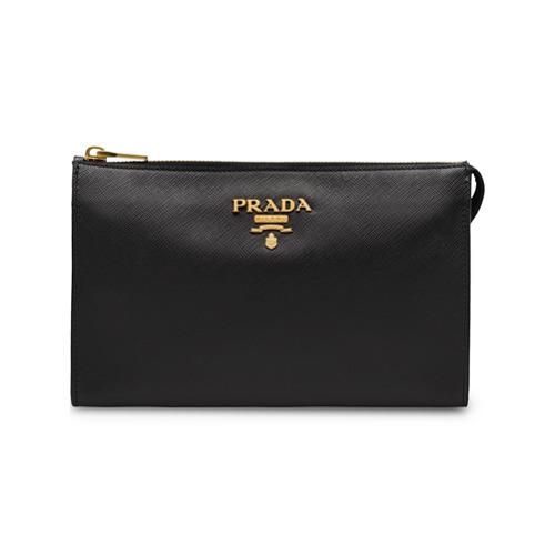 Prada Logo Zipped Clutch