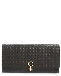 Louise et Cie Yvet Leather Flap Clutch Black