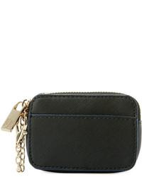 Neiman Marcus Saffiano Faux Leather Coin Pouch Black