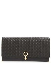 Yvet leather flap clutch black medium 518154