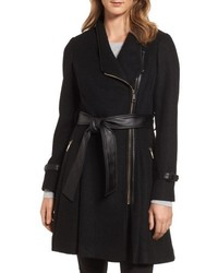 Belted boiled wool blend coat medium 5208952