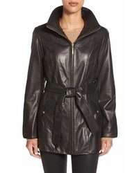 Ellen Tracy Belted Front Zip Leather Coat