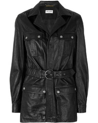 Saint Laurent Belted Leather Coat
