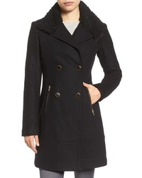 Boucle sleeve wool blend military coat medium 785531
