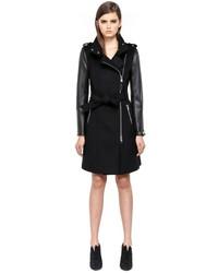 f16aae53b01 ... Mackage Dale F4 Long Black Winter Wool Coat With Leather Sleeves