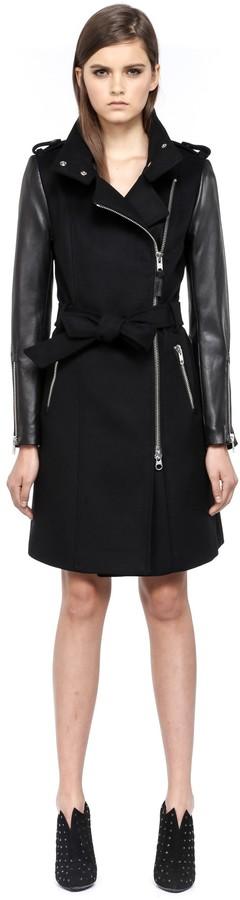cf9efe33f74 ... Mackage Dale F4 Long Black Winter Wool Coat With Leather Sleeves ...