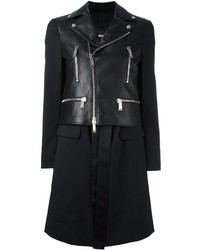 Dsquared2 Mixed Leather Coat