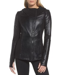 Blanc Noir Faux Leather Hooded Moto Jacket