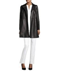 Lafayette 148 New York Jeanette Laser Cut Leather Coat Black