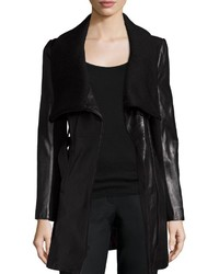 T Tahari Leather Knit Belted Wrap Coat