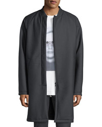 Helmut Lang Long Leather Zip Front Coat