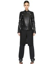 Givenchy Nappa Leather Felted Wool Biker Coat
