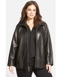 Plus size leather a line coat medium 1151116