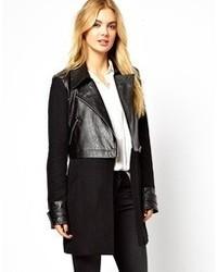 Vila Wool Leather Look Coat
