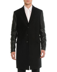 Givenchy Wool Leather Moto Long Coat Black