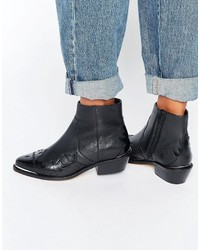 Asos Artessa Leather Western Ankle Boots