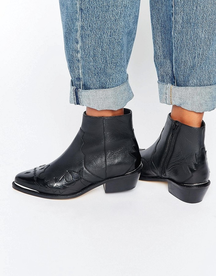 1c01a8a7b78 $103, Asos Artessa Leather Western Ankle Boots