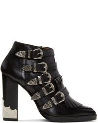 Toga Pulla Black Heeled Five Buckle Western Boots