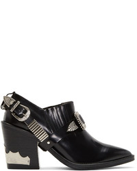 Toga Pulla Black Heeled Western Harness Boots