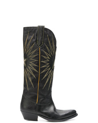 Golden Goose Deluxe Brand Black Knee Length Embroidered Boots