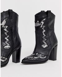 Bronx Black Leather Heeled Western Boots