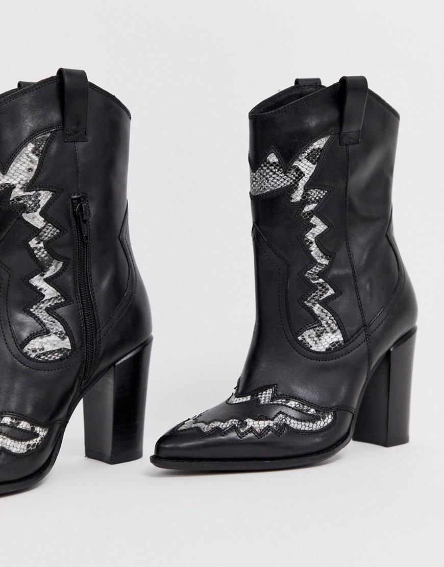 Bronx Black Leather Heeled Western