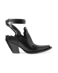 Maison Margiela Distressed Cutout Leather Ankle Boots