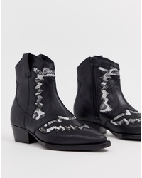 Bronx Leather Snake Mix Western Boots
