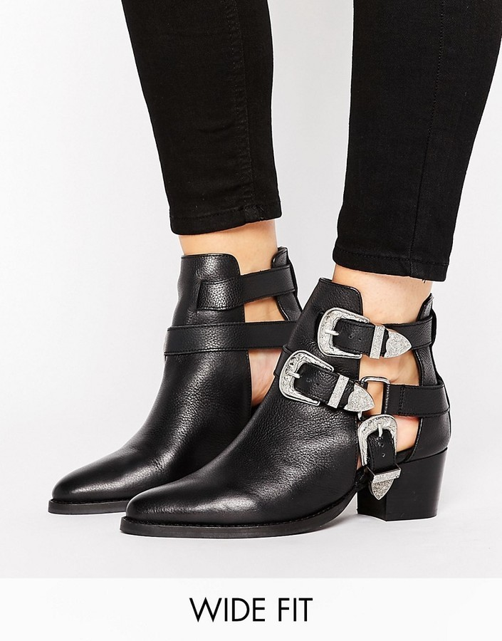 76331deaf77 $87, Asos Radiate Wide Fit Leather Western Buckle Boots