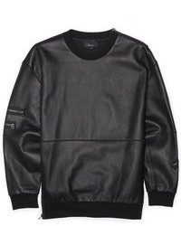 Leather pullover with french terry medium 22739