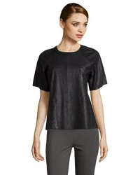 Vince Black Snake Embossed Leather Short Sleeve T Shirt