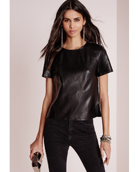 Missguided Faux Leather T Shirt Black