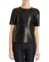 Barneys New York Leather Short Sleeve Shirt Black
