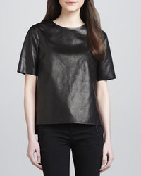 Vince Side Slit Leather Tee Black