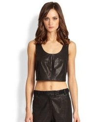 Thakoon Addition Cropped Leather Tank Top